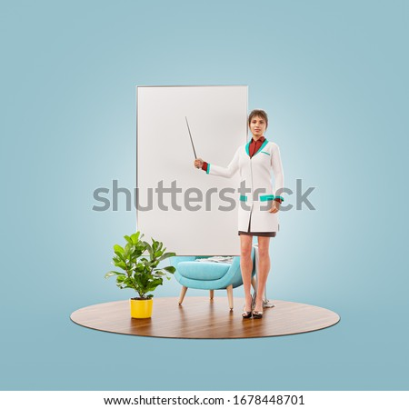 Unusual 3d illustration of female doctor is pointing to flip chart. Doctor demonstrating information on the white board flipchart. Medical presentation, information, recommendations or tips concept.