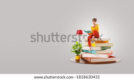 Unusual 3d illustration of female reads sitting on a stack of books. Сток-фото ©