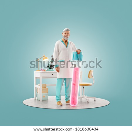 Unusual 3d illustration of scientist with vaccine standing in laboratory. Biochemistry, pharmaceuticals and health care concept.