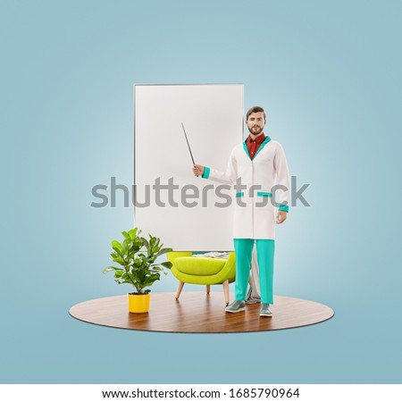 Unusual 3d illustration of young male doctor is pointing to flip chart. Doctor demonstrating information on white board flipchart. Medical presentation, information, recommendations or tips concep