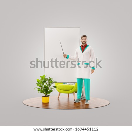 Unusual 3d illustration of young male doctor is pointing to flip chart. Doctor demonstrating information on white board flipchart. Medical presentation, information, recommendations or tips concept