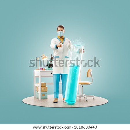 Unusual 3d illustration of young scientist with vaccine showing thumb up while standing in laboratory. Biochemistry, pharmaceuticals and health care concept.