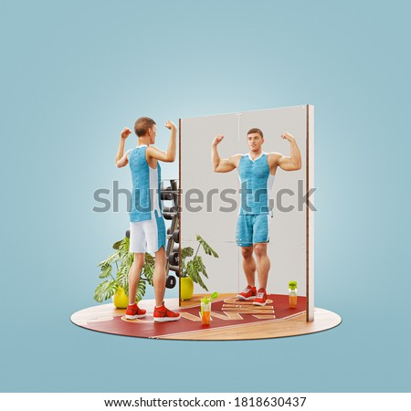 Unusual 3d Illustration of young skinny man looking in the mirror and imagining herself as muscular bodybuilder. Motivation sports concept
