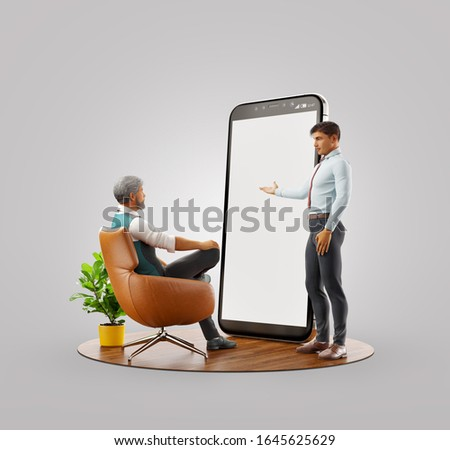 Unusual 3d illustration. Smartphone app ui design development and presentation. Application and social media concept. Web development and web design. Business teamwork concept.