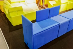 unusual furniture in color for the house, note shallow depth of field