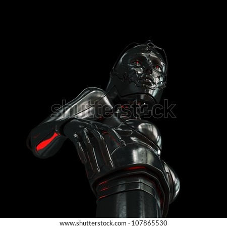 Unusual futuristic metal cyborg woman from bottom view / Stylish cyber girl on black