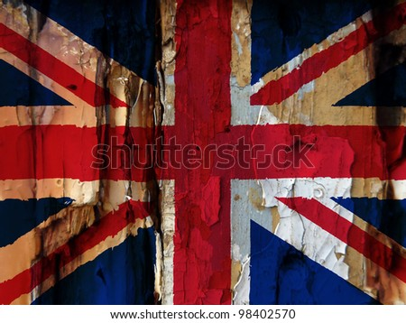 Unusual grunge type image show the British flag overlaid over flaky paint on old wooded door. Harsh colours used adds to the effect. Eye catching image has many uses.