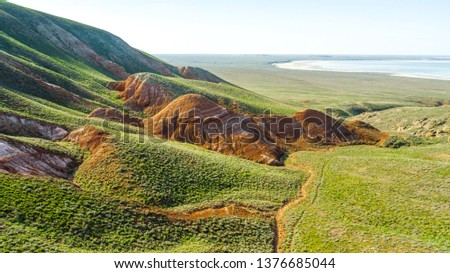 Unusual landscape. Mountain Big Bogdo in the Astrakhan region, Russia. Sacred place for practicing Buddhism. The only unique natural elevation among the steppe areas of the Caspian lowland. #1376685044