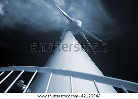 Unusual perspective of a wind generator.