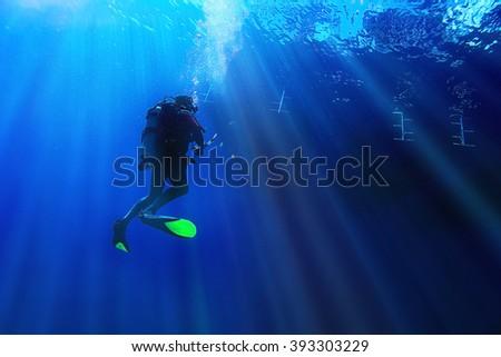 unusual photo diver underwater background #393303229