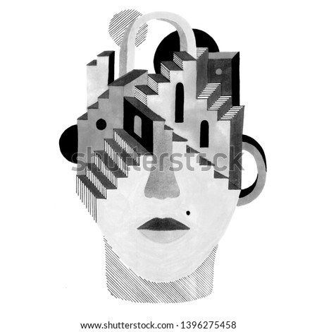 Unusual portrait with architectural details on the head. Hand-drawn raster surreal illustration for your stylish design.