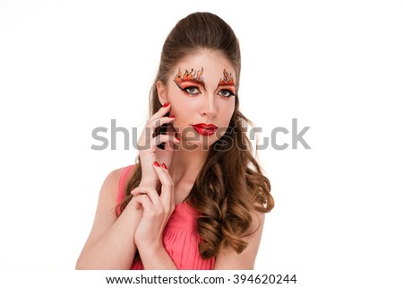 unusual red girl on a white background isolated studio shooting #394620244