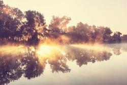 Unusual river fog in summer season