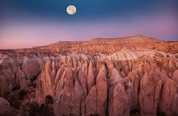 Unusual rock formation in famous Cappadocia, Turkey in moonlight