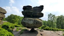 Unusual rock formations in North Yorkshire, England. Brimham Rocks.
