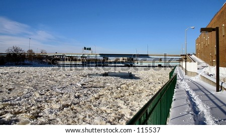 Unusual site where the Grand River is iced over.