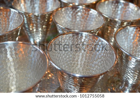 Unusual Vintage Small Sterling Silver Goblets, Snakeskin Pattern, Silver and Gold Tones, Close Up Stock photo ©