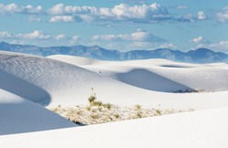 Unusual White Sand Dunes at White Sands National Monument, New Mexico, USA
