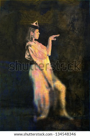 Unusual woman gesturing. Photo illustration.