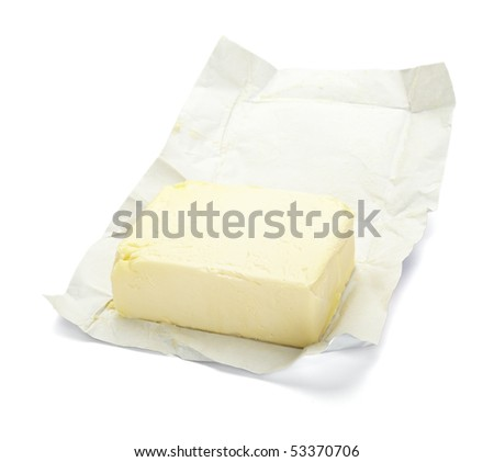 unwrapped butter on white background with clipping path