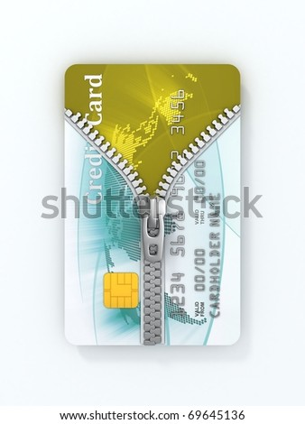 unzipped credit card 3d concept