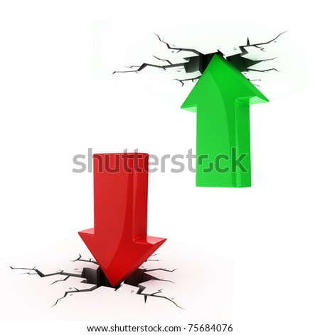 up and down arrows break up the floor and ceiling - bankruptcy, financial collapse, depression, recession,  failure, money crisis, success, growth, inflation, progress, profit 3d concepts
