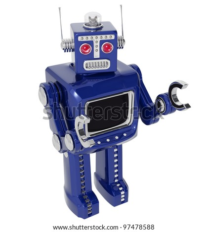 up angle of blue retro robot
