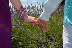 Up close photo of couple in Indian national dress holding hands on lavender field. Love couple pinky promise or pinky swear.