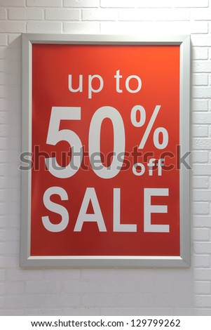 Up to fifty percent off sale sign