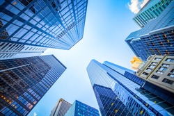 Up view in financial district, Manhattan, New York
