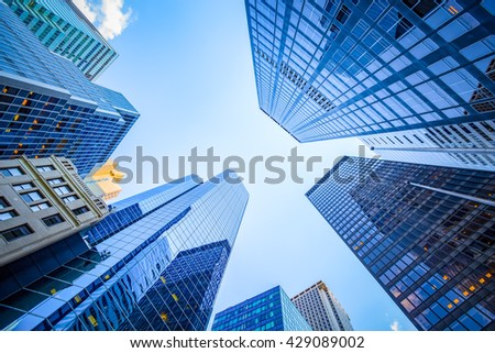 Up view in financial district, Manhattan, New York #429089002