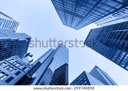 Up view in financial districtg, Manhattan, New York #299740898