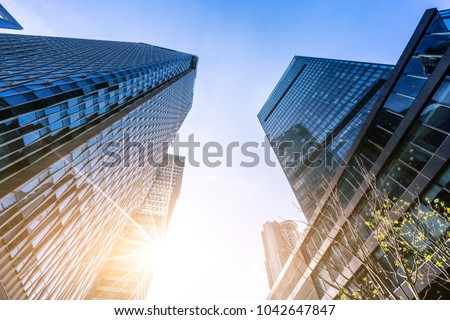 up view of modern office building #1042647847