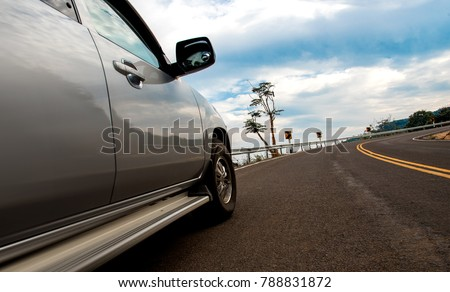 Up view pickup car on the Uphill road