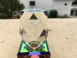 Upclose of a Prism on a blurred background