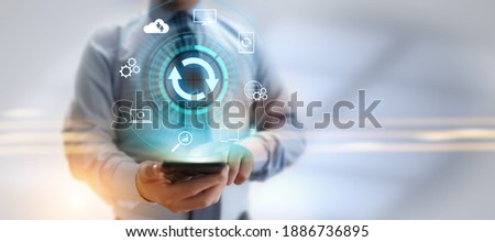 Update software application and hardware upgrade technology concept. Foto stock ©