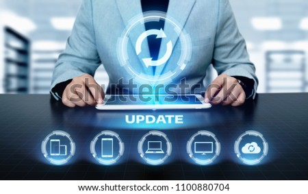 Update Software Computer Program Upgrade Business technology Internet Concept. #1100880704
