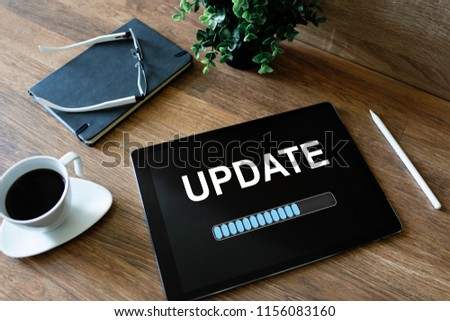 Update status bar on device screen. Software development and technology concept. #1156083160
