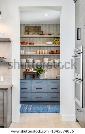 Updated Blue and White Pantry Stockfoto ©