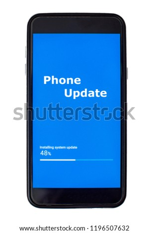 Updating phone software with blue screen and progress bar #1196507632