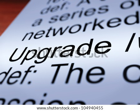 Upgrade Definition Closeup Shows Software Update Or Installation Fix