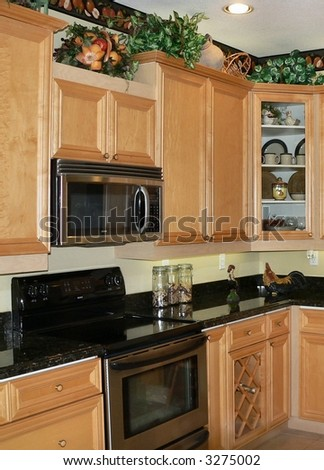 Upgraded kitchen cabinets and stainless steel ovens