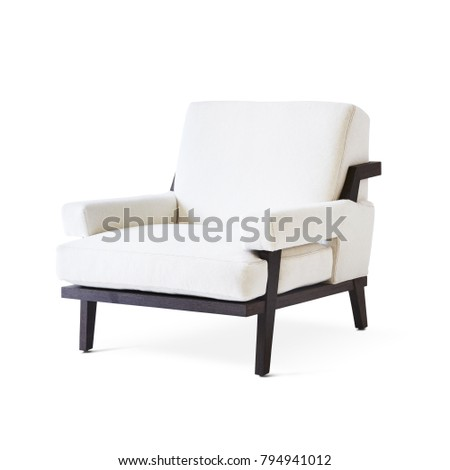 Upholstered Living Room Chair Isolated on White Background. Modern White Arm Chair with Wood Armrests. Wooden Lounge Chair. Side View of Fabric Armchair with Armrests and Seat Cushion - Shutterstock ID 794941012