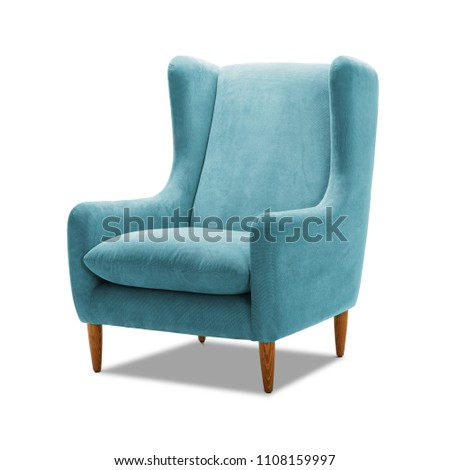 Upholstered Teal Wing Chair with Wooden Feet Isolated on White Background. Side View of Modern Light Blue Wingback Accent Club Armchair with Upholstered Wings and Armrests. Interior Furniture - Shutterstock ID 1108159997