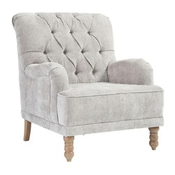 Upholstered Tufted Back Accent Chair Isolated on White. Modern Wingback Club Armchair with Upholstered Wing Armrests and Wooden Feet Front Side View. Interior Furniture. Gray Sofa Set