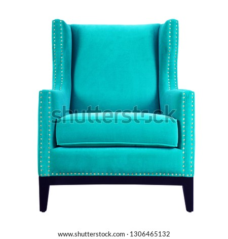 Upholstered Wingback Accent Wing Chair Isolated on White. Front View of Modern Teal Club Armchair with Upholstered Wings and Wood Feet. Interior Furniture. Brushed Plain Fabric Armchair with Armrests #1306465132