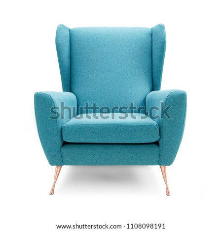 Upholstered Wingback Accent Wing Chair with Copper Feet Isolated on White Background. Front View of Modern Teal Brushed Plain Club Armchair with Upholstered Wings and Armrests. Interior Furniture - Shutterstock ID 1108098191