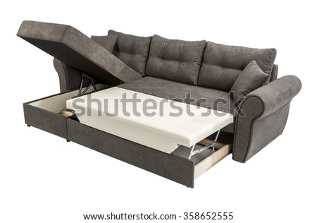 Upholstery sofa corner set with pillows isolated on white background with clipping path #358652555