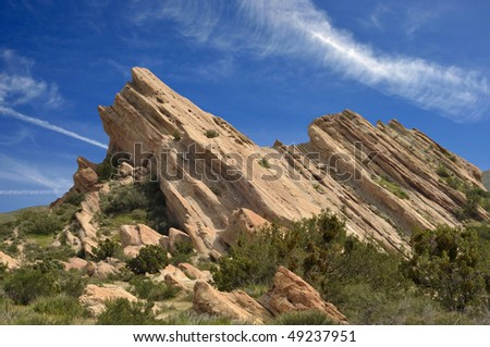 Uplifted rock slabs in Vasquez County Park.