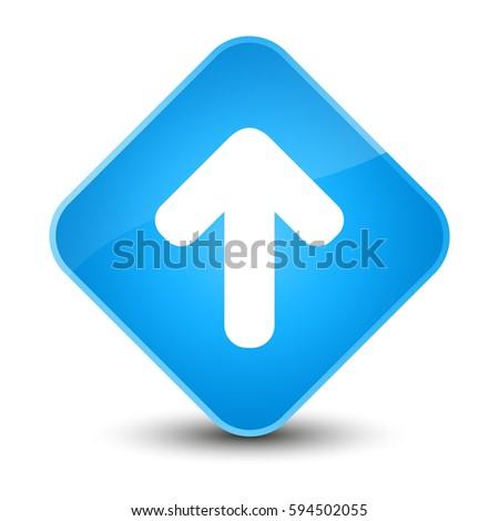 Upload arrow icon isolated on elegant cyan blue diamond button abstract illustration
